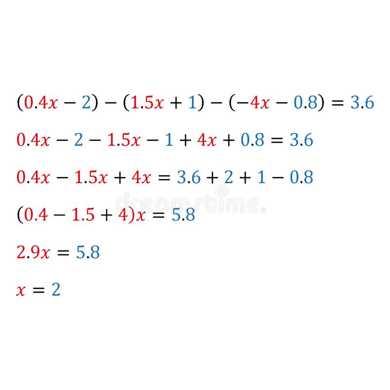 Algebraic equation with one variable decimals fractions. Algebraic equation with one variable opening of parentheses and arithmetic operations with polynomials vector illustration