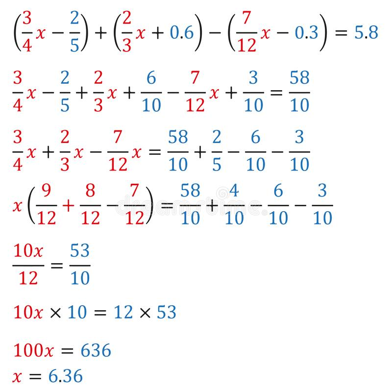 Algebraic equation with one variable equivalence equation. Algebraic equation with one variable opening of parentheses and arithmetic operations with polynomials vector illustration