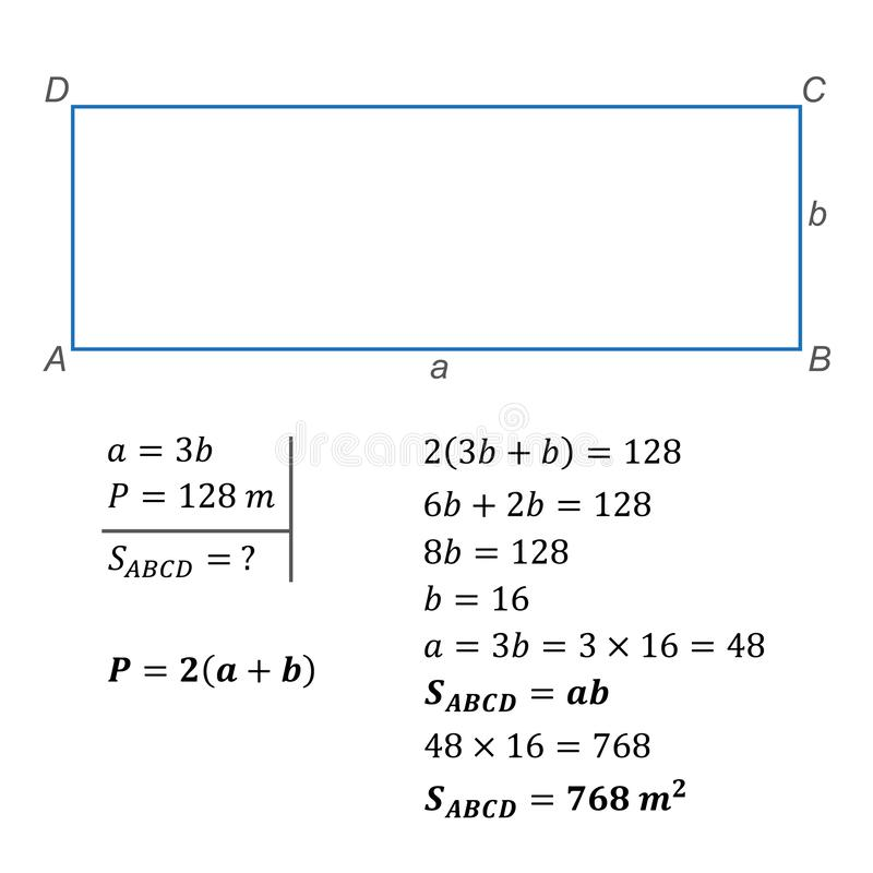 Algebraic equation with one variable positive integers. Solving a textual algebraic problem of composing an equation using one variable positive integers stock illustration