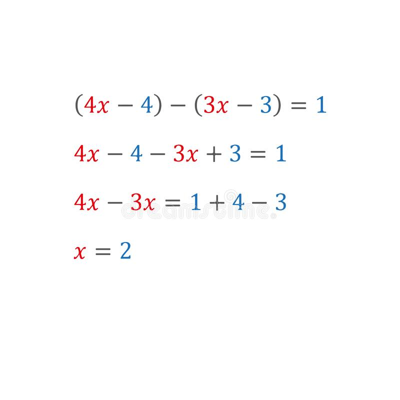 Algebraic equation with one variable positive and negative numbers integers. Algebraic equation with one variable opening of parentheses and arithmetic vector illustration