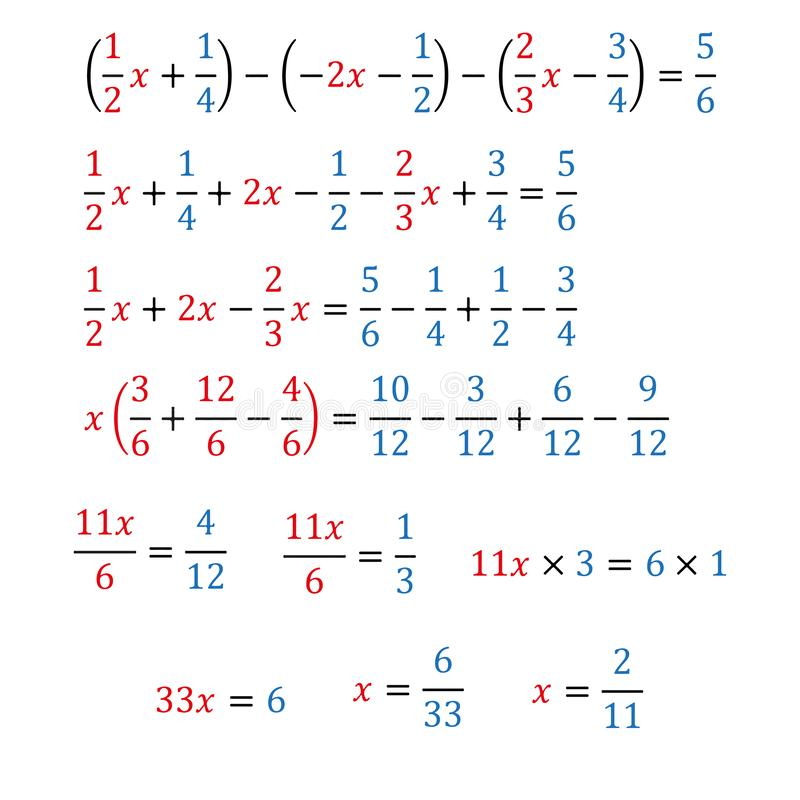 Algebraic equation with one variable simple fractions and mixed fractions. Algebraic equation with one variable opening of parentheses and arithmetic operations stock illustration