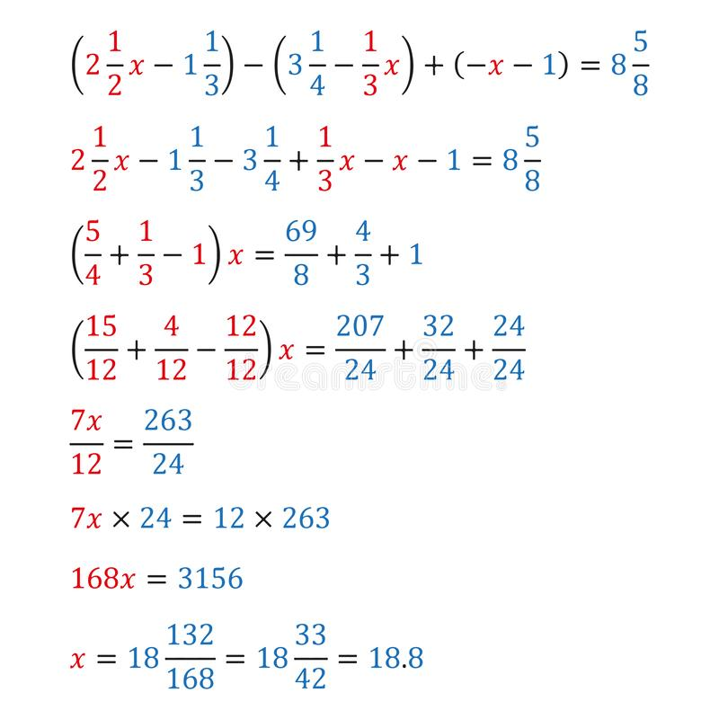 Algebraic equation with one variable simple fractions and mixed fractions equivalence equation. Algebraic equation with one variable opening of parentheses and royalty free illustration