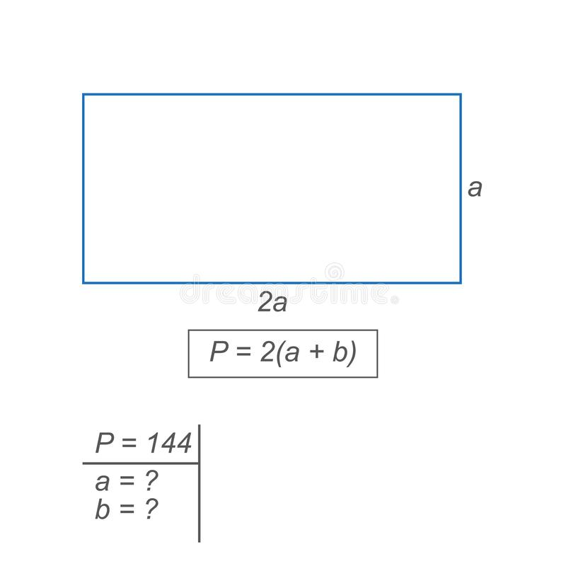 Algebraic expression computing the perimeter of a rectangle. Blue gray rectangle solving an elementary algebraic problem blue gray rectangle solving an stock illustration