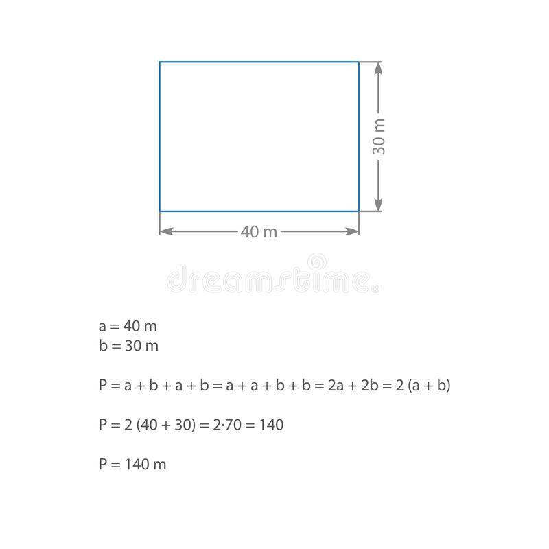 Algebraic expression computing the perimeter of a rectangle blue gray rectangle solving an elementary algebraic problem.  vector illustration