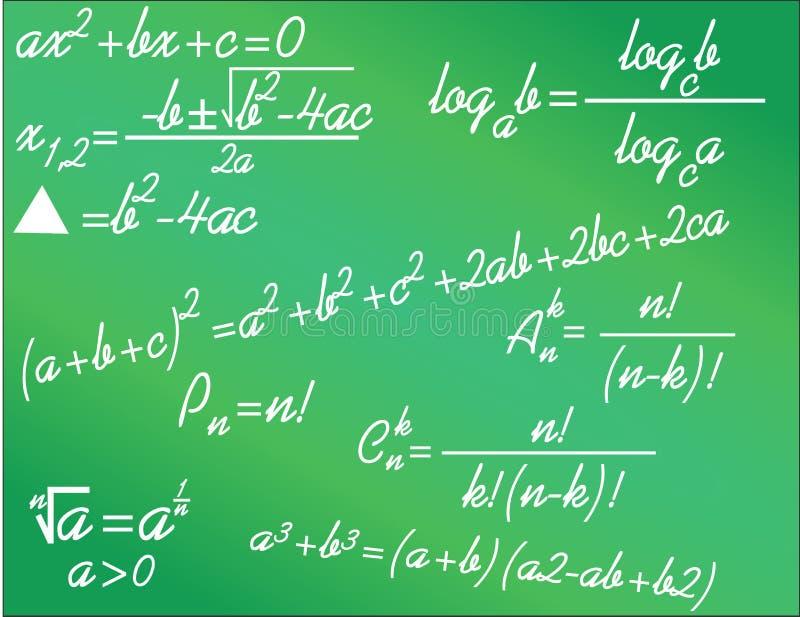 Algebraic math formulas. Algebra math formulas written on green background stock illustration