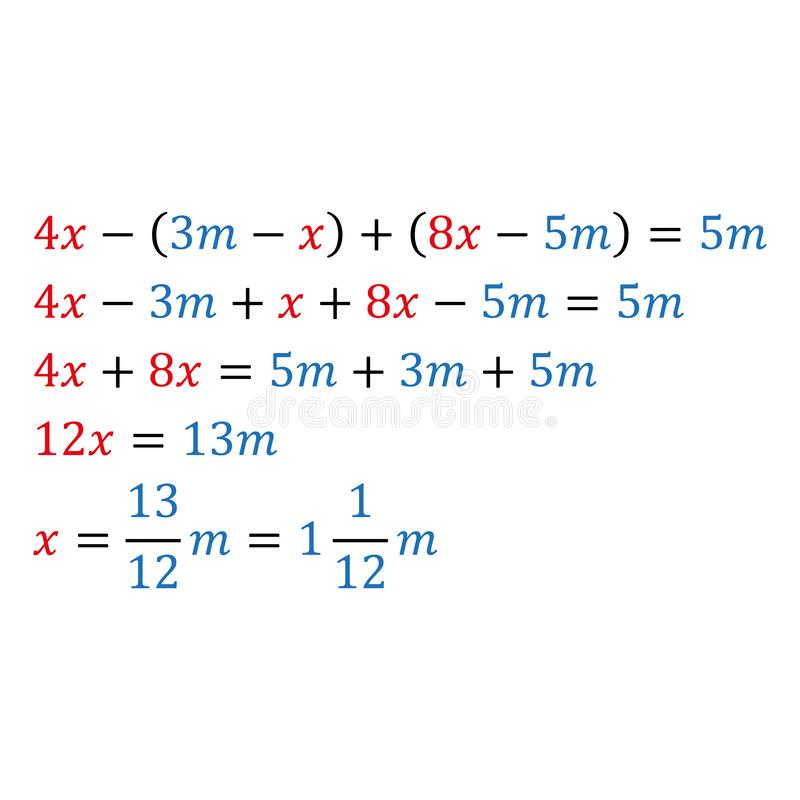 Algebraic parametric equation with one variable. Positive and negative numbers are simple fractions and mixed fractions. Algebraic parametric equation with one stock illustration