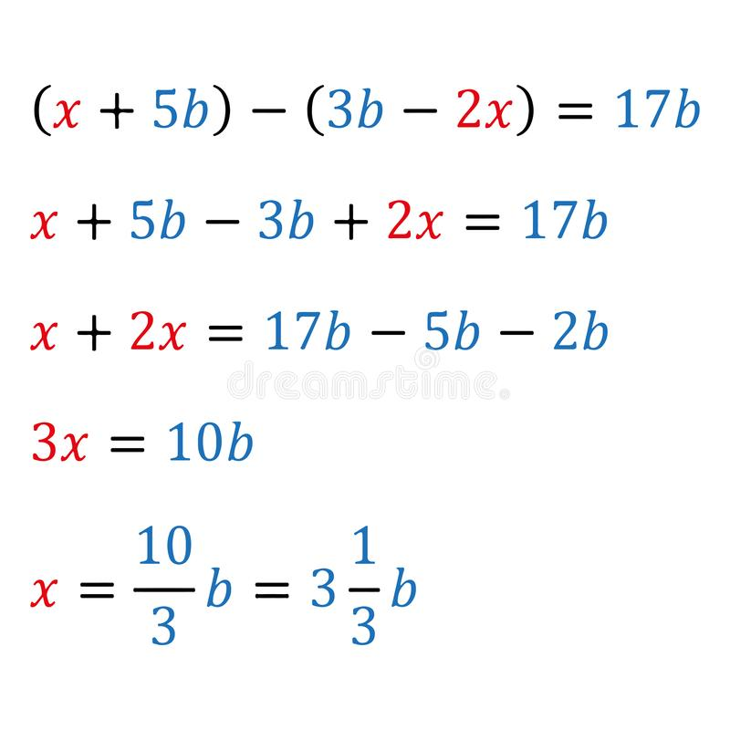 Algebraic parametric equation with one variable. Positive and negative numbers. Integer numbers. Fractions and mixed. Algebraic parametric equation with one vector illustration