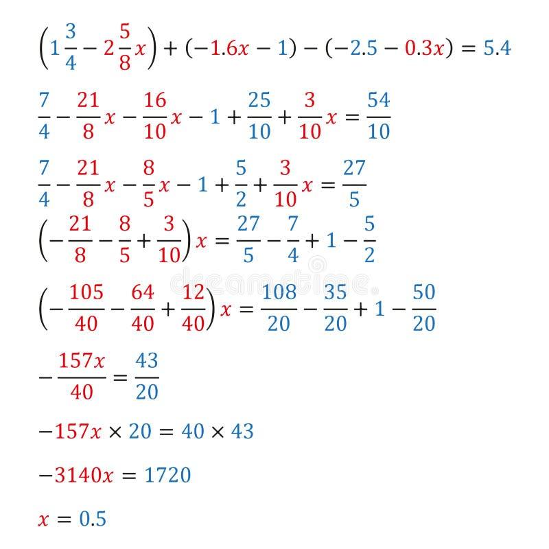 Algebraisk likställande med decimal- bråkdelar för en variabel motsvarighetlikställande royaltyfri illustrationer