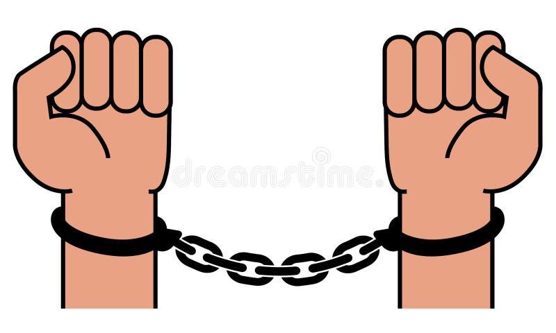 Algemas nas mãos do criminoso ilustração do vetor