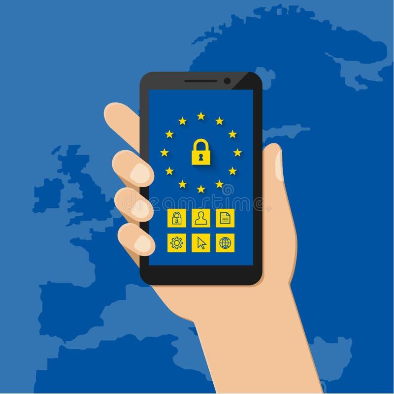 Algemeen Gegevensbeschermingverordening concept met mobiele telefoon stock illustratie