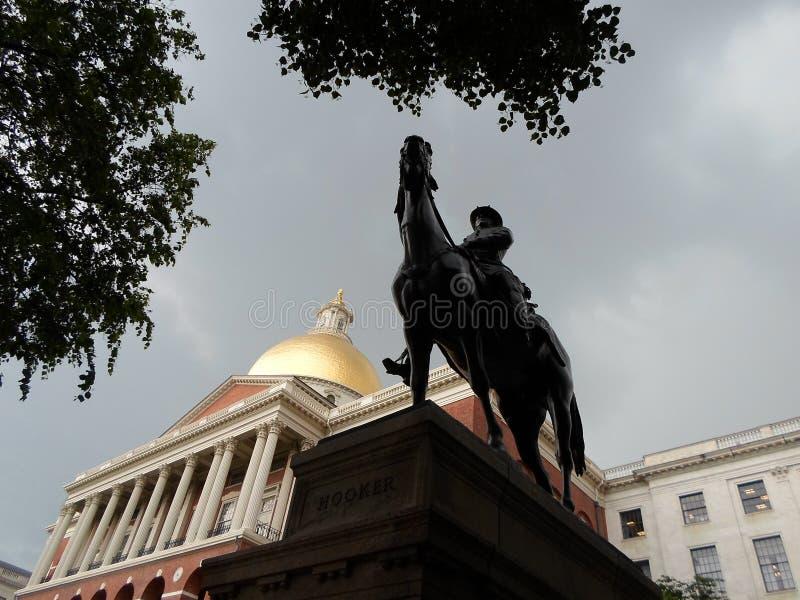 Algemeen Joseph Hooker Statue, het Huis van de Staat van Massachusetts, Beacon Hill, Boston, Massachusetts, de V.S. royalty-vrije stock foto