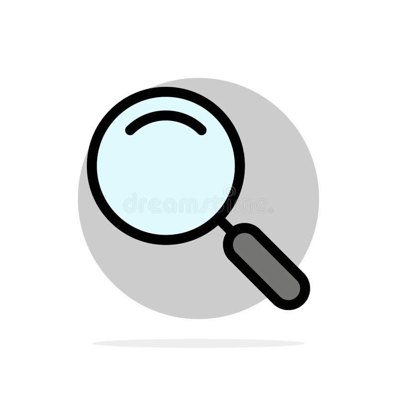 Algemeen, Magnifier, overdrijf, zoek Abstract Cirkel Achtergrond Vlak kleurenpictogram stock illustratie