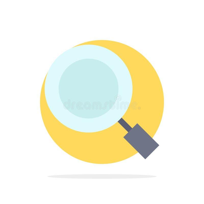 Algemeen, Magnifier, overdrijf, zoek Abstract Cirkel Achtergrond Vlak kleurenpictogram royalty-vrije illustratie