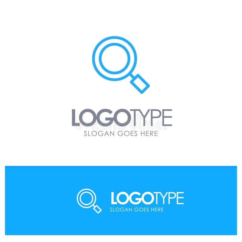 Algemeen, Magnifier, overdrijf, zoek Blauw overzichtsembleem met plaats naar tagline vector illustratie