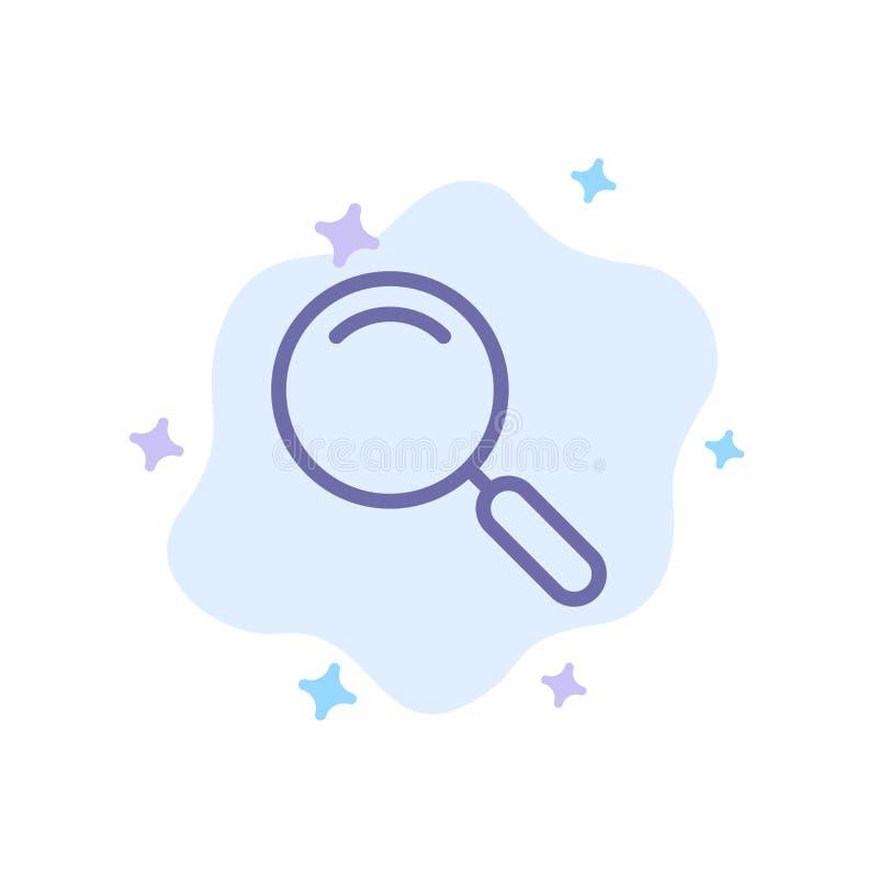 Algemeen, Magnifier, overdrijf, zoek Blauw Pictogram op Abstracte Wolkenachtergrond royalty-vrije illustratie