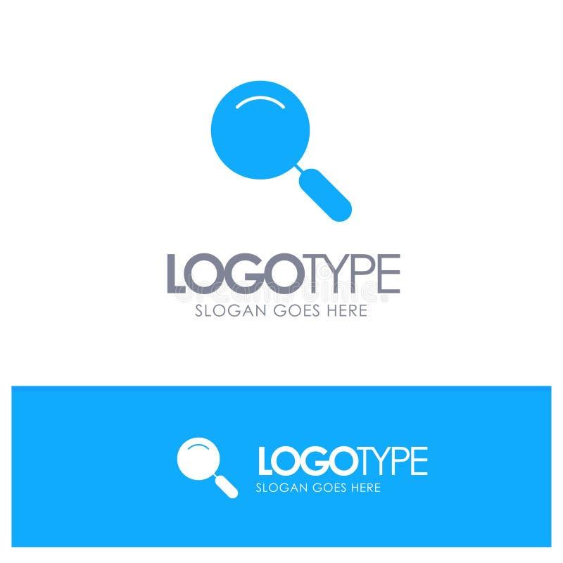 Algemeen, Magnifier, overdrijf, zoek Blauw Stevig Embleem met plaats naar tagline stock illustratie