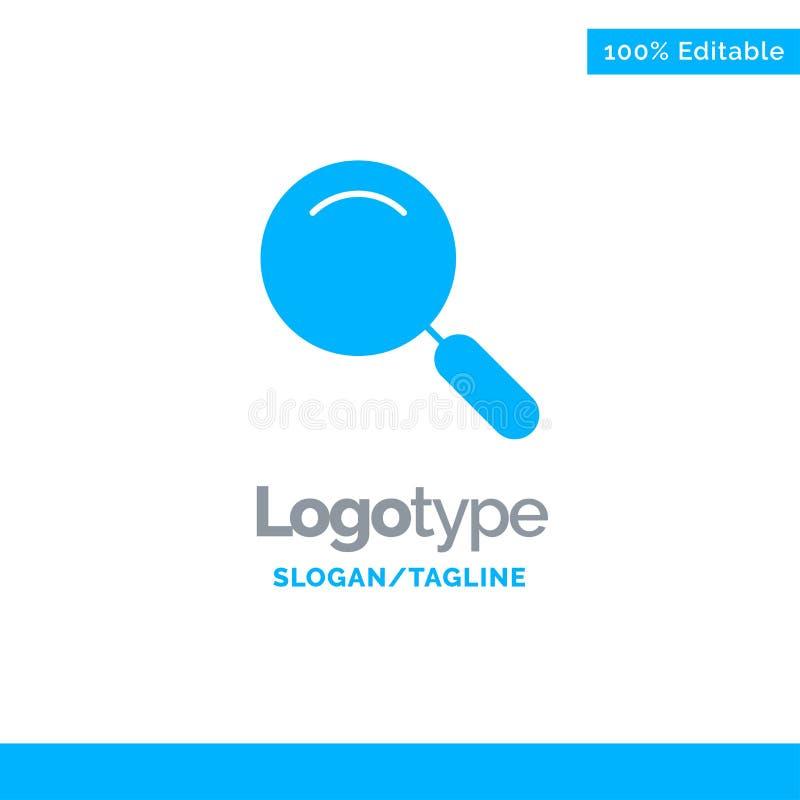 Algemeen, Magnifier, overdrijf, zoek Blauw Stevig Logo Template Plaats voor Tagline stock illustratie