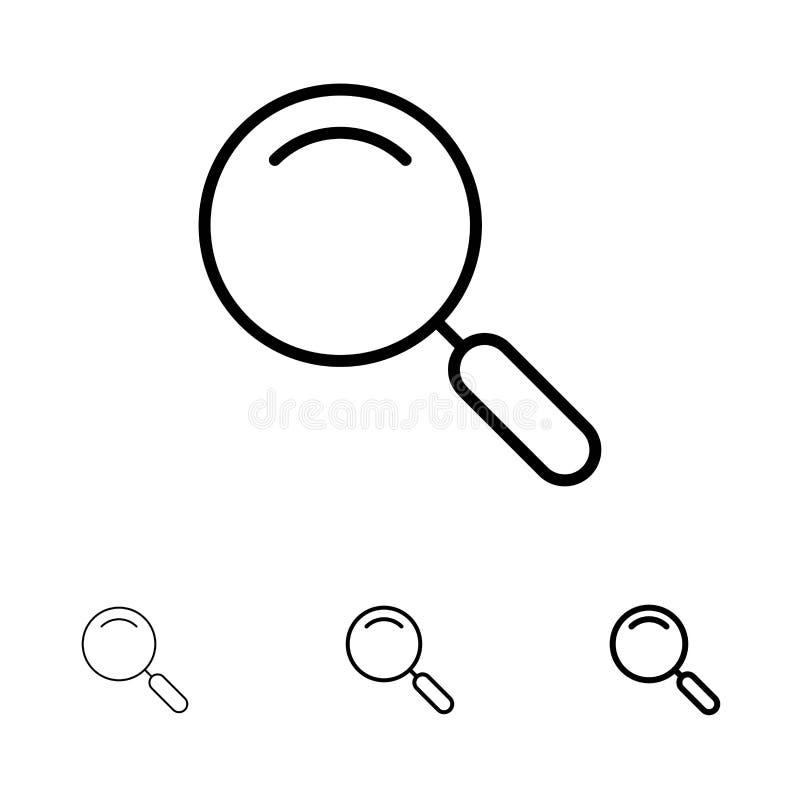 Algemeen, Magnifier, overdrijf, zoek de Gewaagde en dunne zwarte reeks van het lijnpictogram vector illustratie