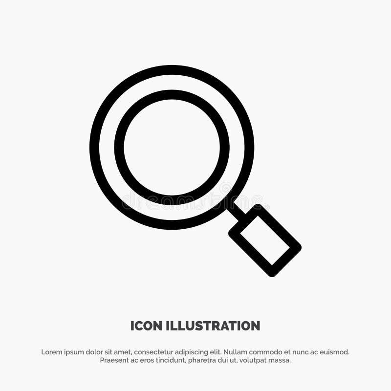 Algemeen, Magnifier, overdrijf, zoek de Vector van het Lijnpictogram royalty-vrije illustratie