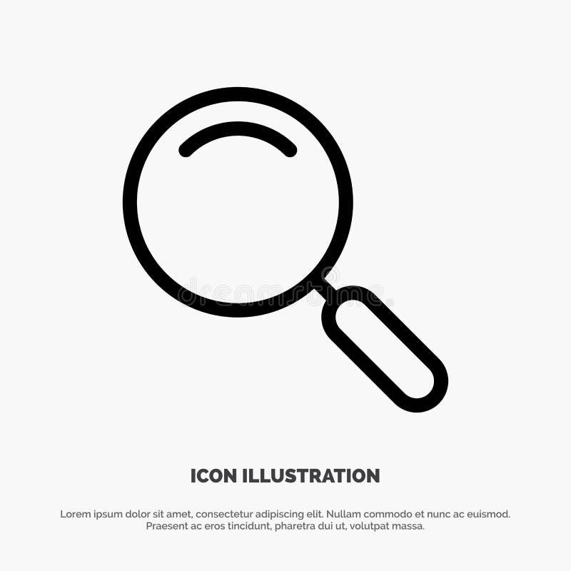 Algemeen, Magnifier, overdrijf, zoek de Vector van het Lijnpictogram stock illustratie