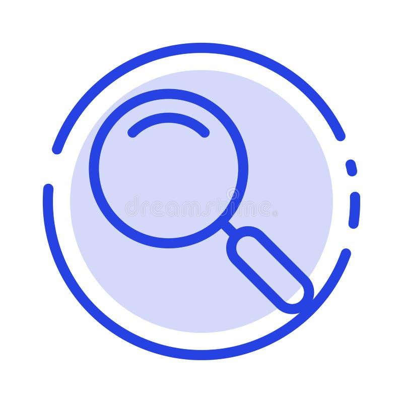 Algemeen, Magnifier, overdrijf, zoek het Blauwe Pictogram van de Gestippelde Lijnlijn stock illustratie