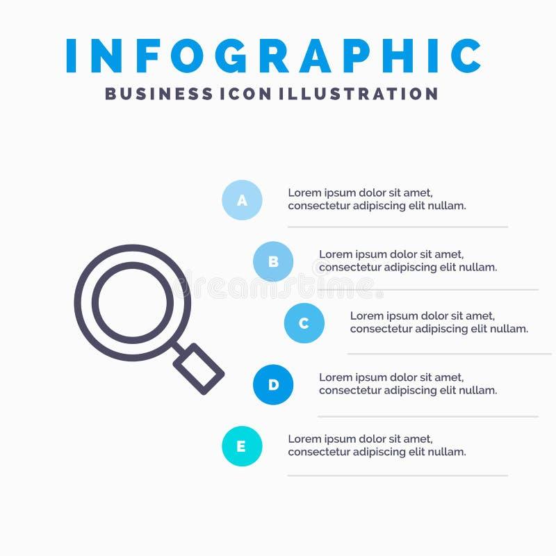 Algemeen, Magnifier, overdrijf, zoek Lijnpictogram met infographicsachtergrond van de 5 stappenpresentatie vector illustratie