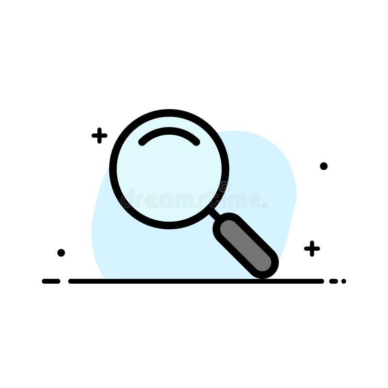 Algemeen, Magnifier, overdrijf, zoek Malplaatje van de Bedrijfs het Vlakke Lijn Gevulde Pictogram Vectorbanner royalty-vrije illustratie