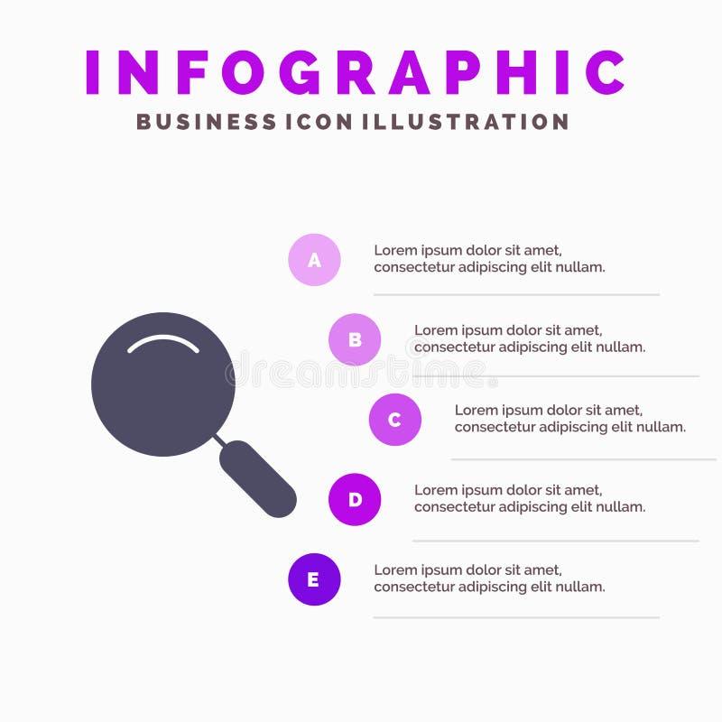 Algemeen, Magnifier, overdrijf, zoek Stevig Pictogram Infographics 5 de Achtergrond van de Stappenpresentatie stock illustratie