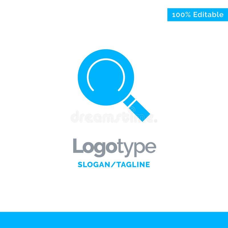 Algemeen, Magnifier, zoek Blauw Stevig Logo Template Plaats voor Tagline vector illustratie