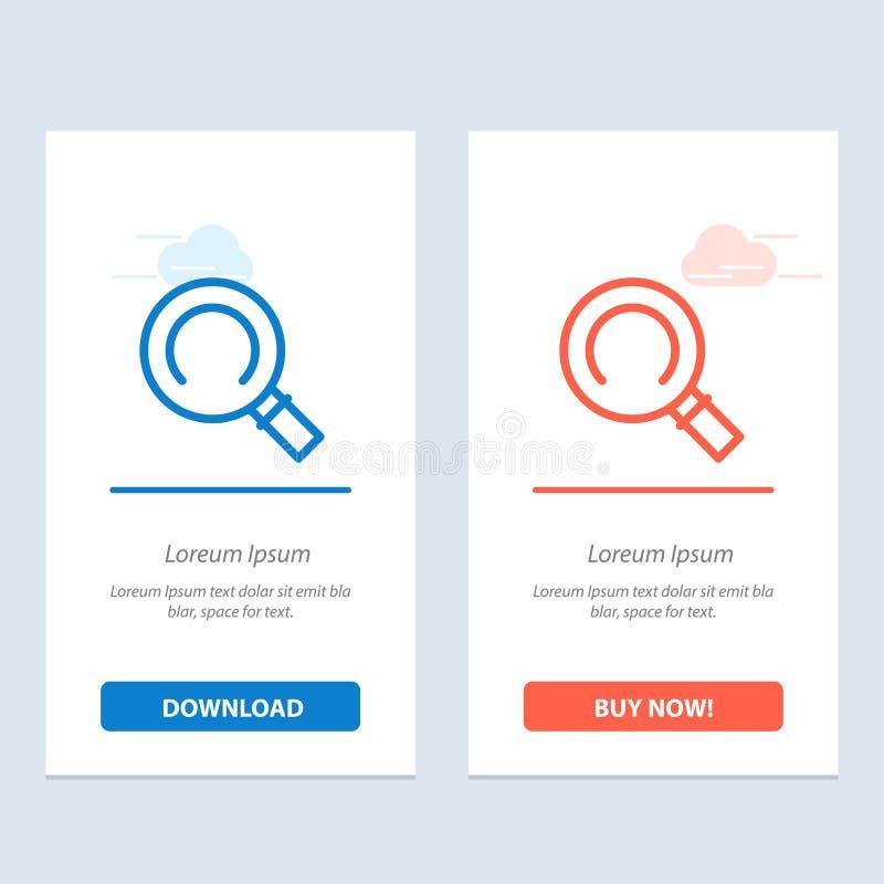 Algemeen, Magnifier, zoek Blauwe en Rode Download en koop nu de Kaartmalplaatje van Webwidget vector illustratie