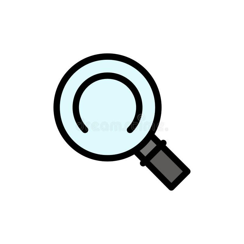 Algemeen, Magnifier, zoek Vlak Kleurenpictogram Het vectormalplaatje van de pictogrambanner stock illustratie