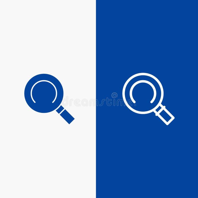 Algemeen, Magnifier, Zoekenlijn en Lijn van de het pictogram Blauwe banner van Glyph de Stevige en Stevige het pictogram Blauwe b vector illustratie