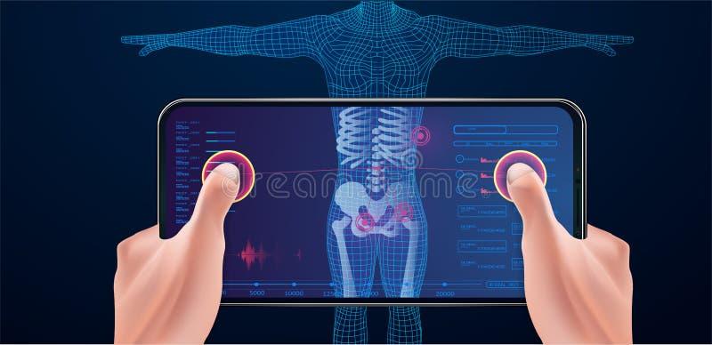Algemeen medisch onderzoek, die met mobiel aftasten vector illustratie
