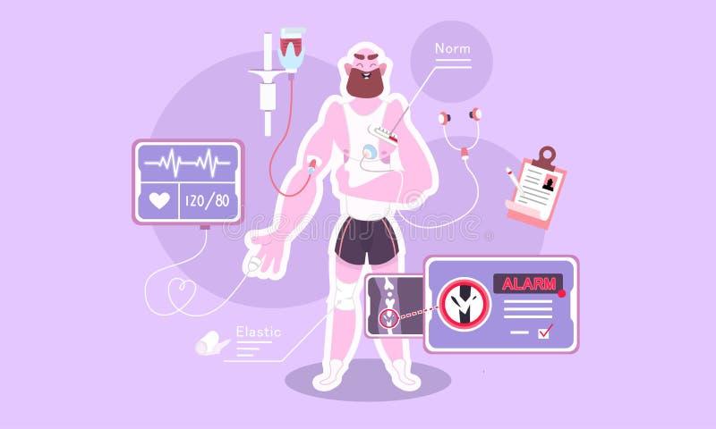 Algemeen medisch onderzoek van het lichaam vector illustratie