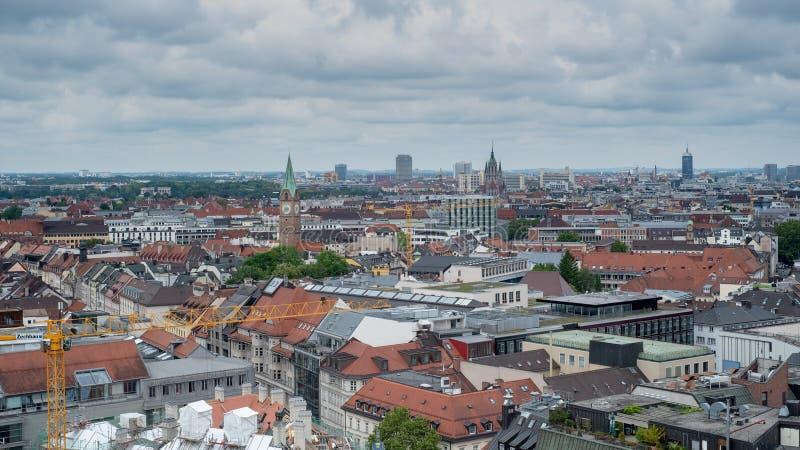 Algemeen satellietbeeld van München van een toren royalty-vrije stock fotografie
