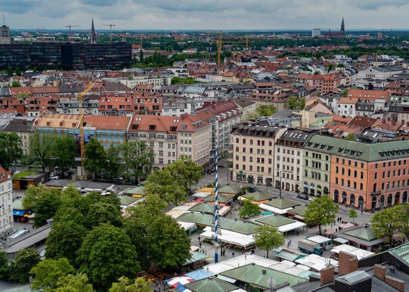 Algemeen satellietbeeld van München van een toren royalty-vrije stock foto's