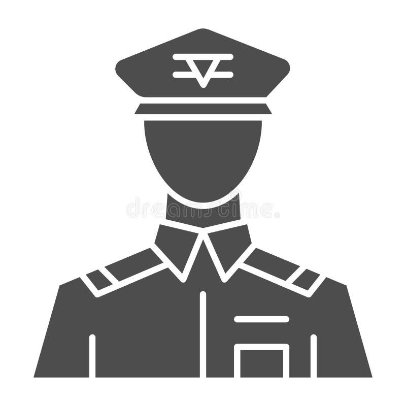 Algemeen stevig pictogram Bevelhebbers vectorillustratie die op wit wordt geïsoleerd Het ontwerp van de veteraan glyph stijl, voo stock illustratie