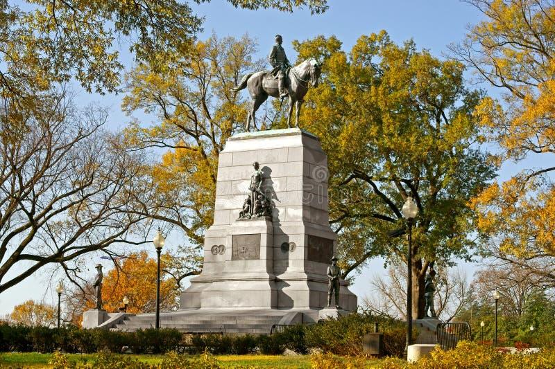 Algemeen William Tecumseh Sherman Monument 1903, ruiterstandbeeld van Amerikaanse Burgeroorlog Major General in Sherman Plaza royalty-vrije stock fotografie