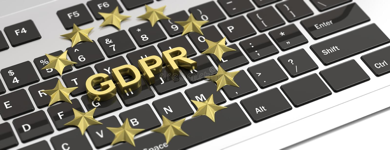 Algemene de Gegevensbeschermingverordening van de EU De sterren van GDPR en de EU-op computertoetsenbord 3D Illustratie stock illustratie