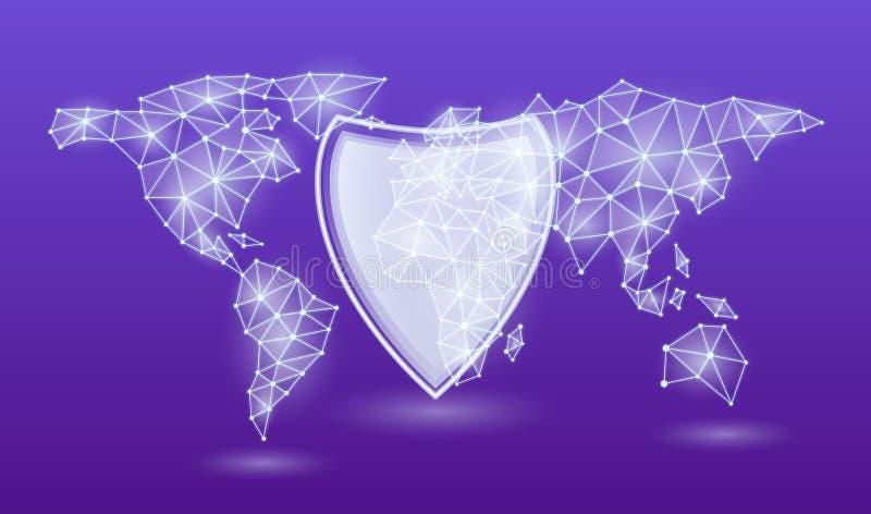Algemene Gegevensbeschermingverordening de EU, aangaande een de kaartachtergrond van de neonwereld Vector illustratie royalty-vrije illustratie