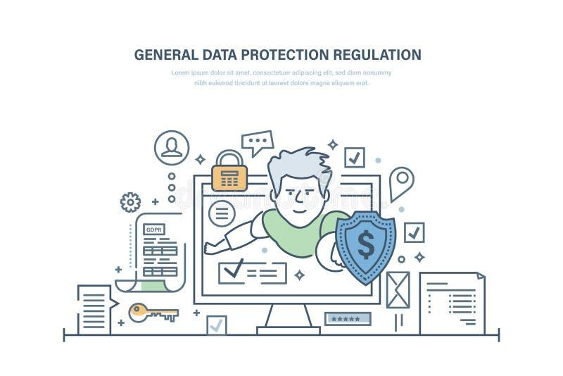 Algemene Gegevensbeschermingverordening GDPR Cryptografische secutiry, vertrouwelijkheid van informatie stock illustratie