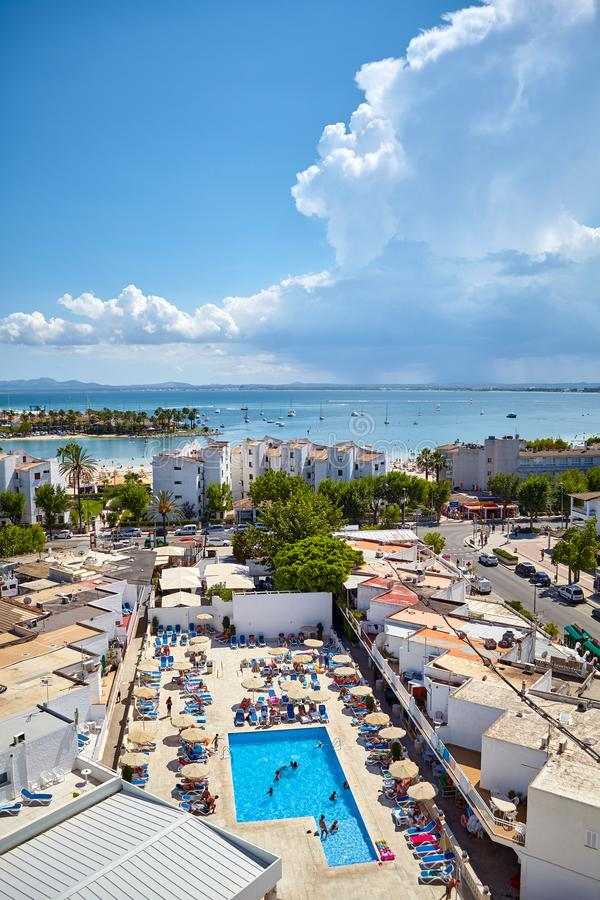 Algemene mening van de Haven van Alcudia, Mallorca royalty-vrije stock foto