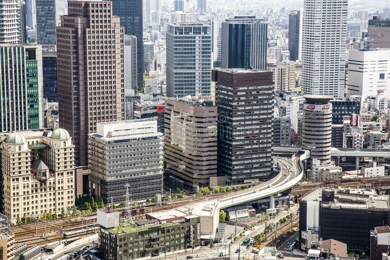 Algemene mening van dichtbevolkte Japanse megalopolis Oska royalty-vrije stock afbeelding