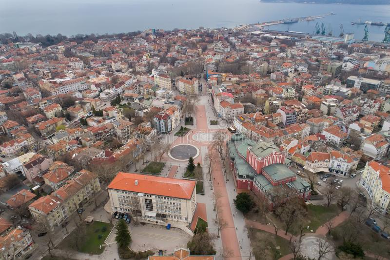 Algemene mening van het centrum van Varna De overzeese hoofdstad van Bulgarije royalty-vrije stock foto