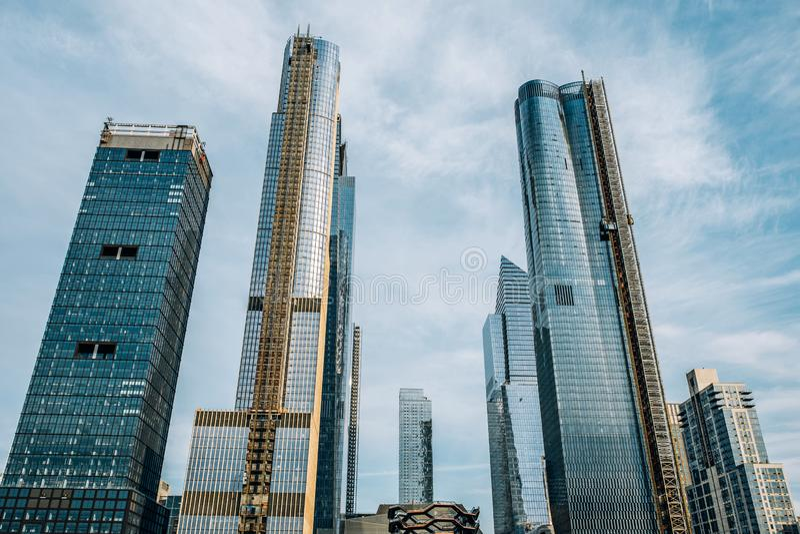 Algemene mening van Hudson Yards-horizon van Hoog Lijnpark in de uit het stadscentrum Stad van New York stock foto's