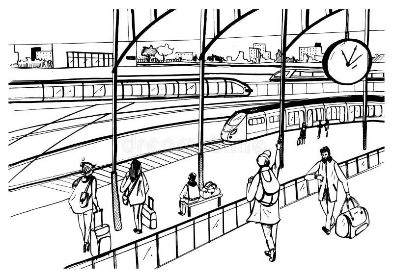 Algemene mening van spoorwegplatform met treinen en passagiers Horizontaal zwart-wit beeld, hand getrokken vector vector illustratie