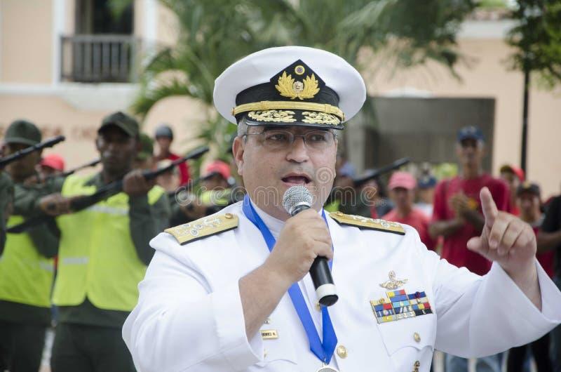 Algemene Venezolaanse Bolivarian in een handeling van de Slag van Carabobo stock foto's