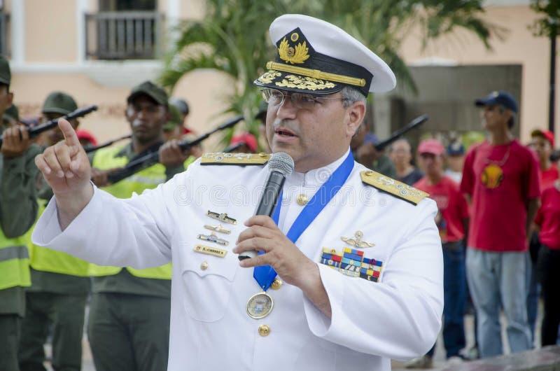 Algemene Venezolaanse Bolivarian in een handeling van de Slag van Carabobo stock afbeeldingen