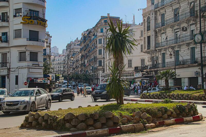 Alger, Algeria, Capital, City, Northafrika, travel, passengertraffic, birdview, street, cars,. Alger, the Capital of Algeria, full of Live, day and night stock photos