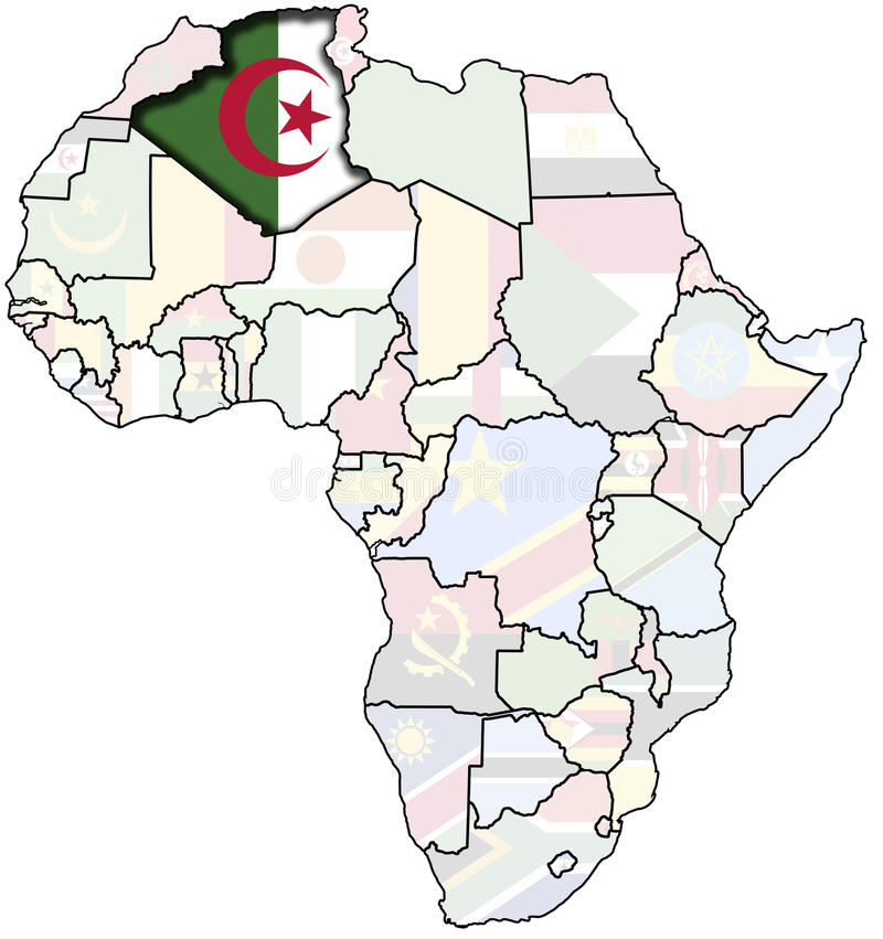 Algeria on africa map stock illustration Illustration of country